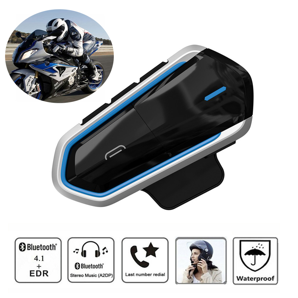 Waterproof Motorcycle Helmet Intercoms For Helmet Motor Intercom Bluetooth Intercom Motor Interphone Headphones FM Radio