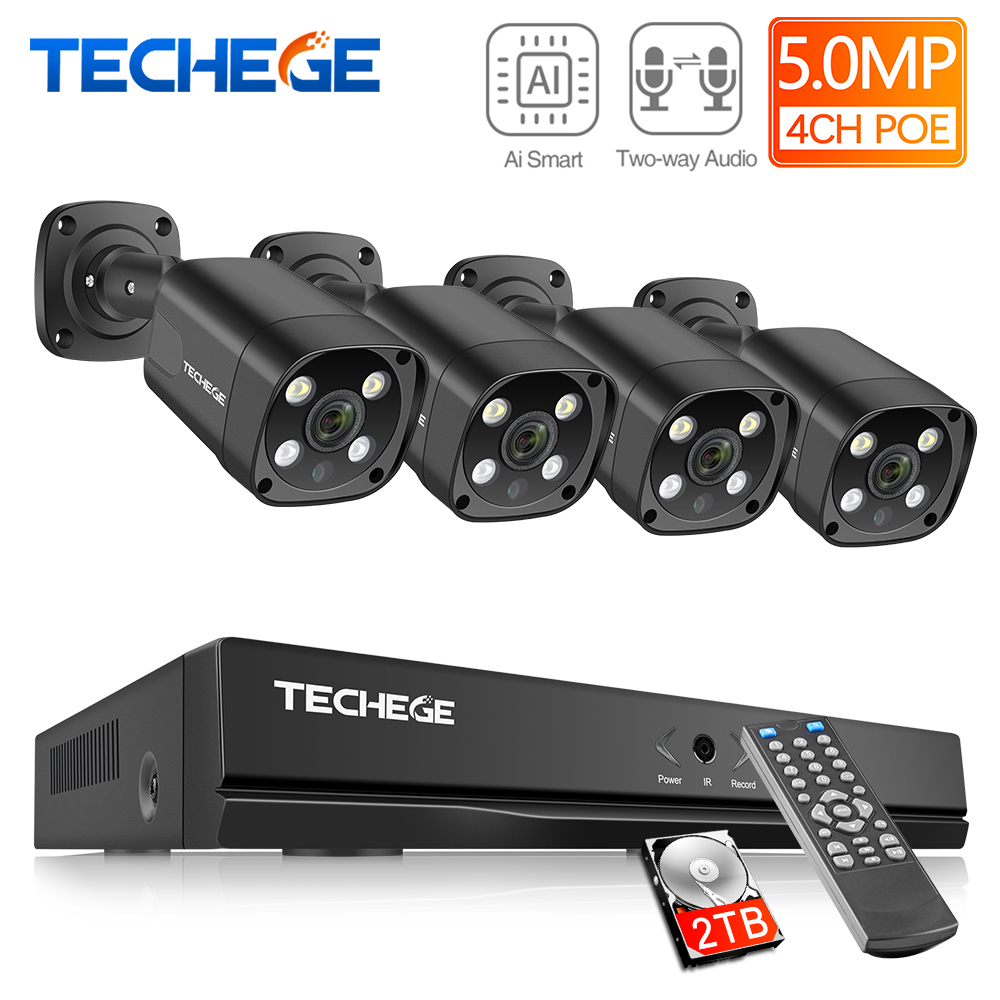Techege 4CH 5MP POE IP Camera System AI Human Detection Two-way Audio Outdoor Waterproof  CCTV Video Security Surveillance Kit