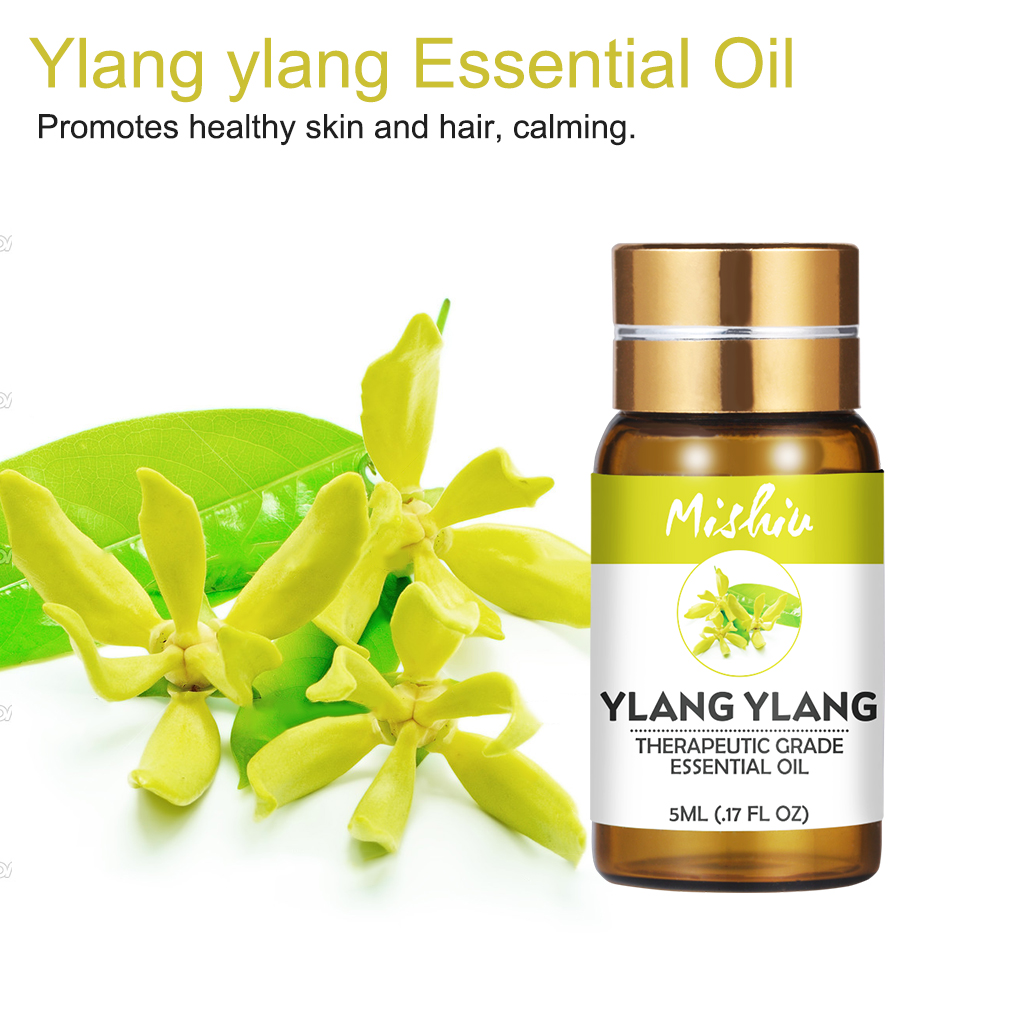 Mishiu 5ML100% Pure Ylang Ylang Essential Oil Promotes Healthy Skin&Hair,Calming,Help Sleep Aromatherapy Plant Essential Oil