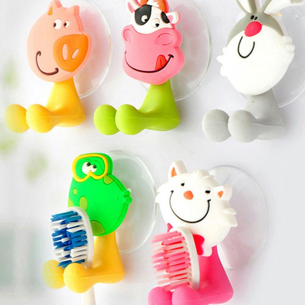 Cartoon Animal Toothbrush Suction Cup Wall Holder Hanger Rack Storage Bathroom Wall Mounted Toothbrush Holder Organizer image