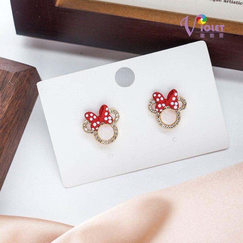 Disney Микки серьги в виде мышей S925 наборе серебристых спиц из бантом Микки и Минни Маус серьги женские красные туфли для девочек серьги, ювели...