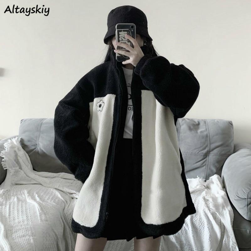 Jackets Women Zipper Pockets Printed Lambswool Loose Stand Collar Casual Korean Style Chic New Harajuku Kawaii Womens Streetwear