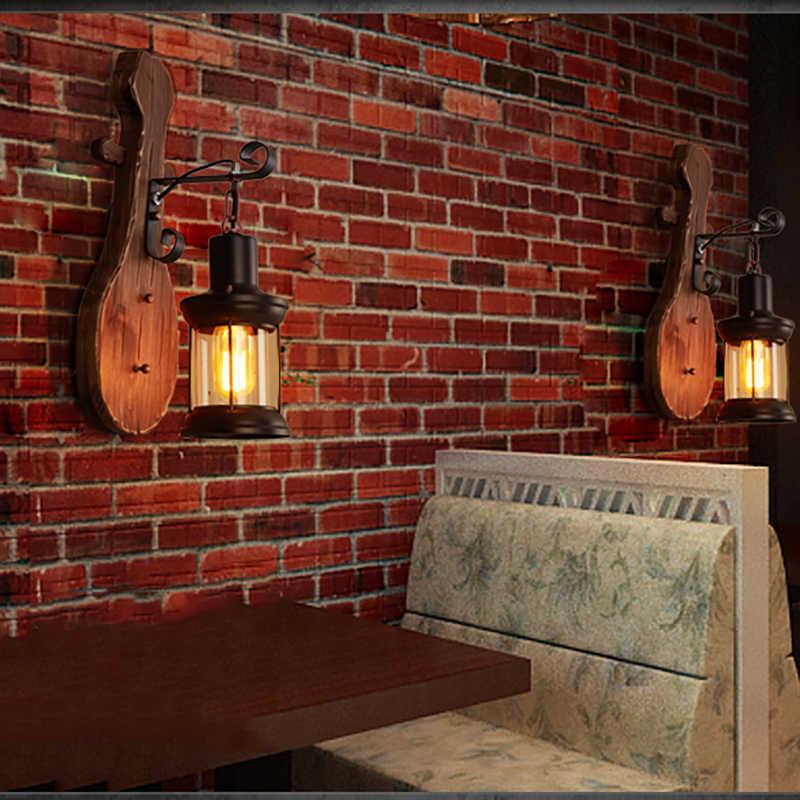 Винтажный деревянный стеклянный светодиодный настенные светильники промышленные бра ночник с подставкой прикроватный Ресторан Лофт Декор свет стеновой в коридоре