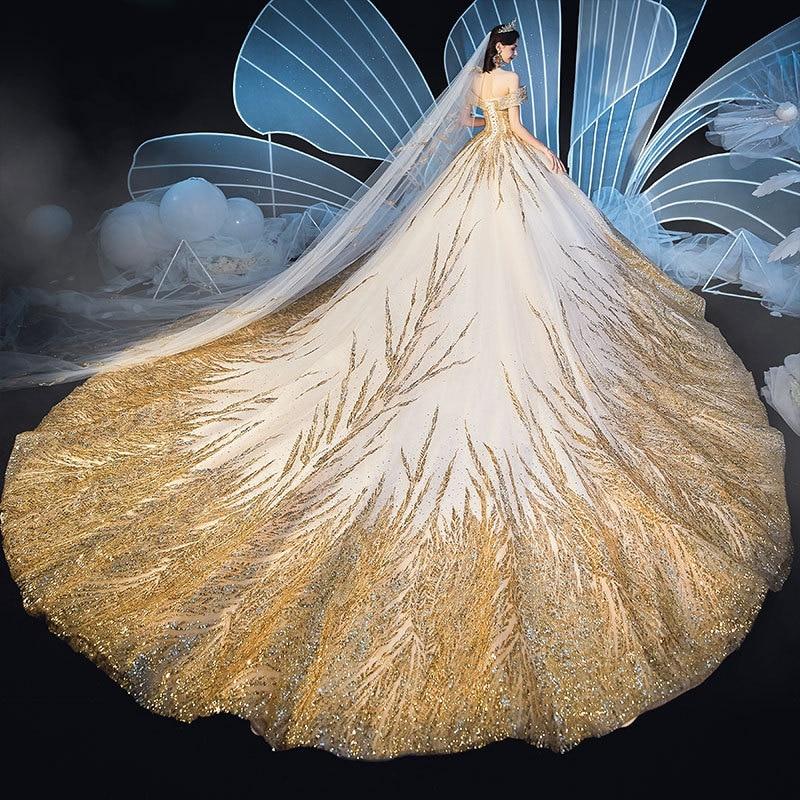 Lindo dubai sexy vestidos de casamento de luxo dourado 2020 lantejoulas fora do ombro vestidos de noiva vestido de noiva feito sob encomenda bodaVestidos de Noiva   -