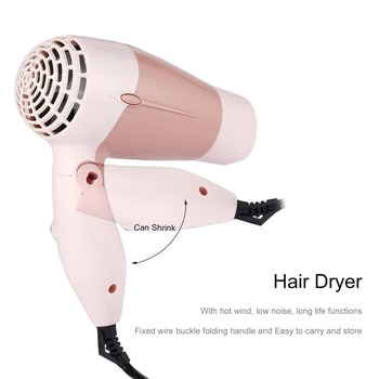 Mini Portable Foldable Handle Compact 1000W Hair Dryer Blow Dryer Hot Wind Low Noise Long Life for Outdoor Travel kemei km 6830 portable mini hair dryer low noise evenly hot wind collapsible travel hair dryers 220v compact hair dryer 1200w