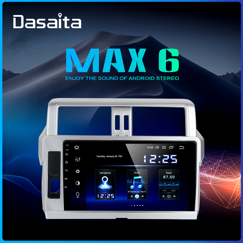 Dasaita 1 Din Android 9.0 차량용 GPS 네비게이션 Toyota Prado 2014 2015 10.2 IPS Bluetooth 1024*600 64GB ROM image