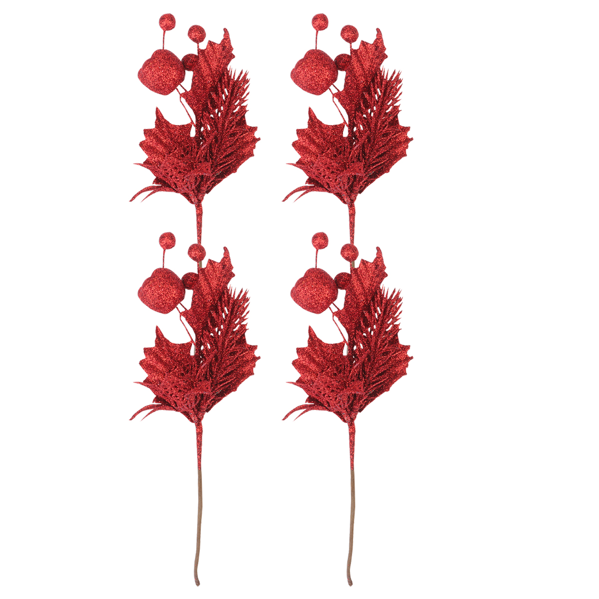 4x Christmas Glitter Berries w Leaves Stem Artificial Floral Decoration Clip On