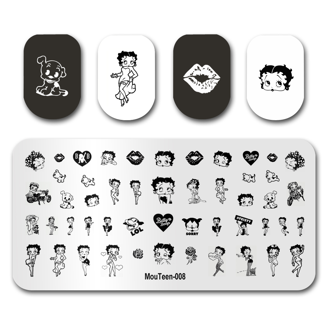 Hot Nail Art Stamping MouTeen008 Cartoon Betty Boob Heart Flower Nail Stamping Plates Manicure Stencil Set For Nail Stamping