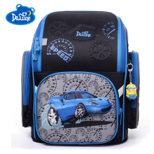 Delune 2019 High Quality Childrens Orthopedic Backpacks 3D Cartoon Car Pattern Backpack for Girls Boys Students School Bag