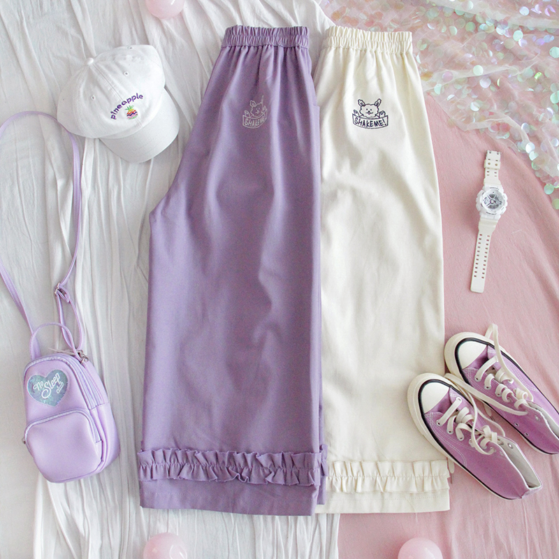 Purple Small Fresh Lace Cute Puppy Embroidery Straight Pants Elastic Waist Loose Casual Pants Women Spring Summer New Nine Pants