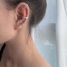 LISM 3 pièces/ensemble 925 en argent Sterling Design coréen Zircon géométrique boucles d'oreilles femme Double torsion sans percé guerre pince oreille manchette