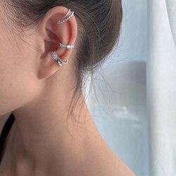 LISM 3Pcs/Set 925 Sterling Silver Korean Design Zircon Geometric Earrings Female Double Twist Without Pierced War Clip Ear Cuff