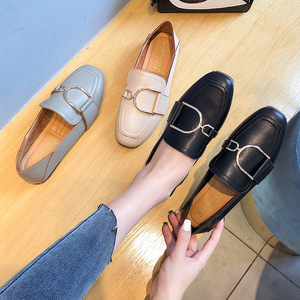Image 2 - מקסי גודל 41 42 נעלי אישה פרדות מוקסינים נקבה להחליק על מתכת אבזם אפונת ופרס עור מפוצל אמא אחות קריירה משרד דירות