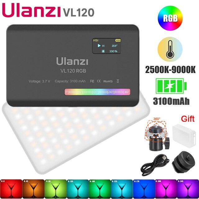 Ulanzi VIJIM VL120 RGB Video Light LED Camera Light Full Color 3100mAh Dimmable 2500K-9000K Bi-Color Panel Light Studio Lamp 1