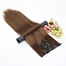 16 цветов 16 клипс длинные прямые синтетические волосы для наращивания на клипсах в высокотемпературном волокне черные коричневые шиньоны