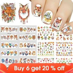 Image 1 - 12pcs Cute Animal Full Wraps Nail Stickers Water Decals DIY Fox Wolf Owl Rabbit Transfer Cartoon Decoration Slider JIBN1285 1296