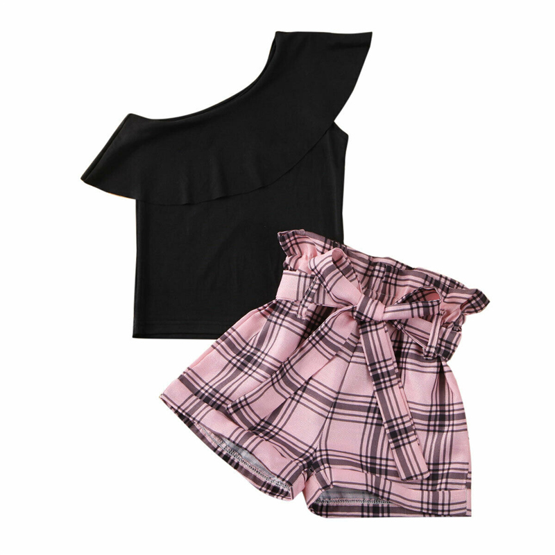 Toddler Kids Girls Ruffle Sleeve Tops Black Shorts Summer Outfits Set Clothes