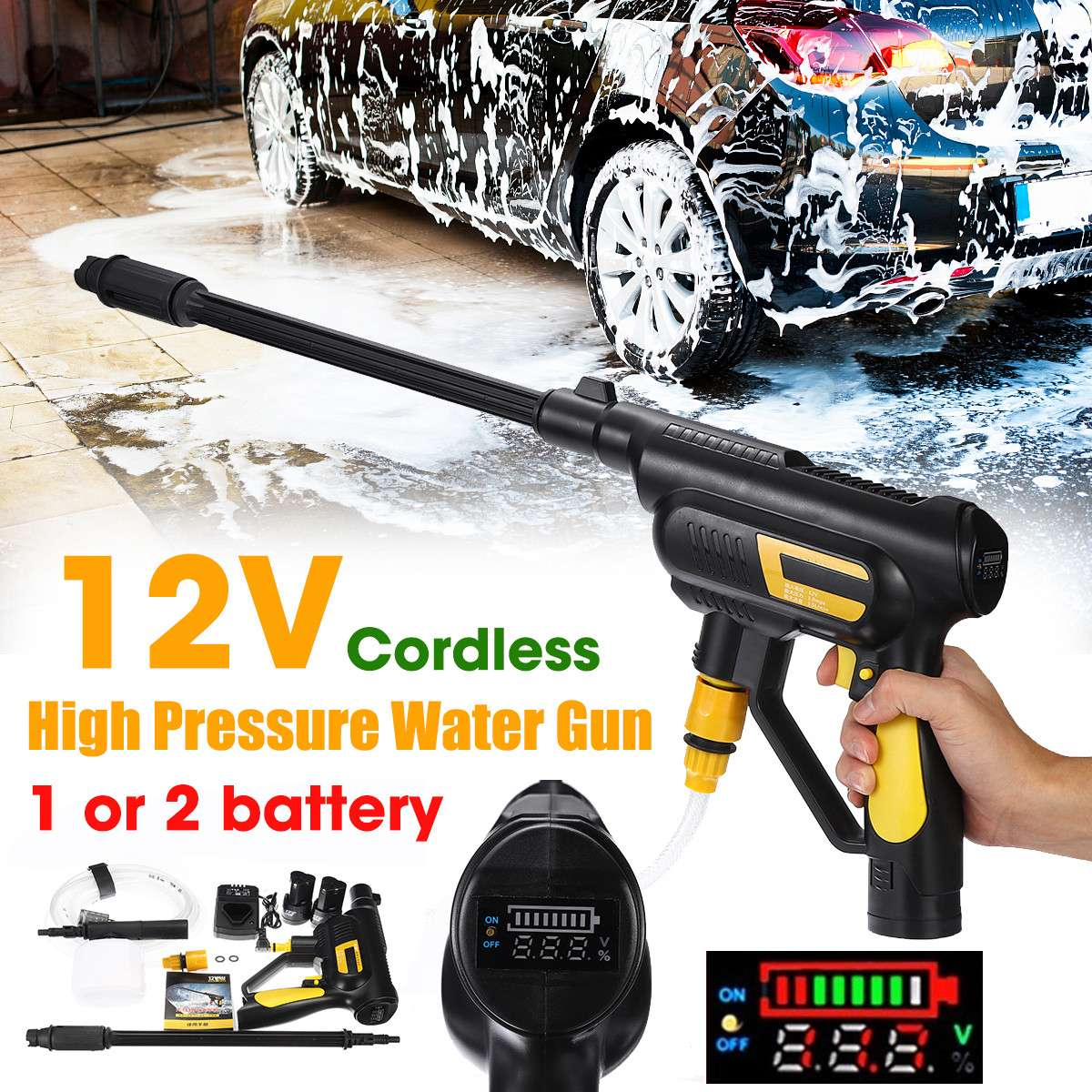 Car Washer 12V Cordless Portable High Pressure Cleaner Rechargable Self-priming Washing Machine Auto Garden Electric Cleaning