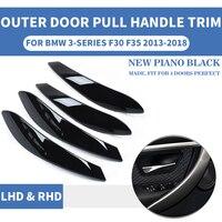 4 pces lhd rhd piano preto interior do carro puxador de tração da porta traseira exterior l r proteger para bmw f30 f80 f31 f32 f33 f35 13 18|Maçanetas internas|Automóveis e motos -