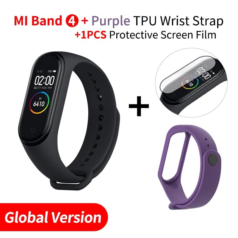 Xiaomi mi Band 4 Smart mi band 3 Цвета экран Браслет фитнес-трекер для измерения сердечного ритма Bluetooth 5,0 водонепроницаемый банда4 - Цвет: EN Add Purple Strap