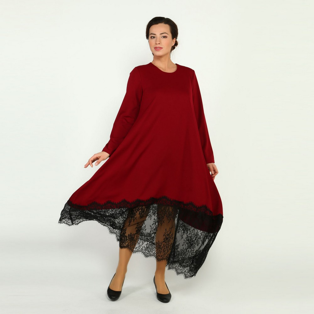 Dresses Frida 32811 women sundress large size chiffon velvet velour lace red with a low waistline Maxi and MIDI female plus size high low lace up skirted coat