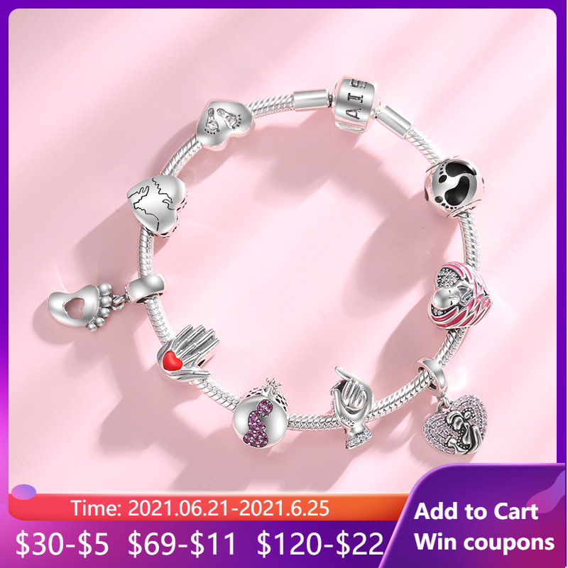 Give birth to life Pregnant mother 925 Sterling Silver Charm Pink CZ Beads Jewelry Making Fit Original European Charms Bracelets