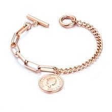 Womens Bracelets Jewelry Stainless Steel Rose Gold Ladies Friendship Silver Open Queen Elizabeth Coin Woman Round Bracelet jewelry bracelet exclaim for womens 033s2387b jewellery womens bracelets accessories bijouterie