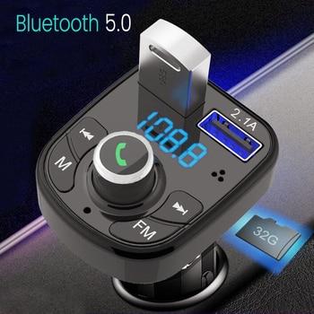 Reproductor de Audio MP3 2020 con Bluetooth 5,0, transmisor FM para coche, manos libres con cargador USB Dual, compatible con tarjeta TF, reproductor de música Flash USB