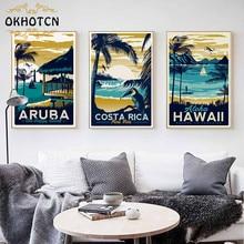 ARUBA HAWAII Hawaii Sea Beach Vintage Minimalist Art Canvas Painting Landscape Picture Print  Modern Home Room Decoration