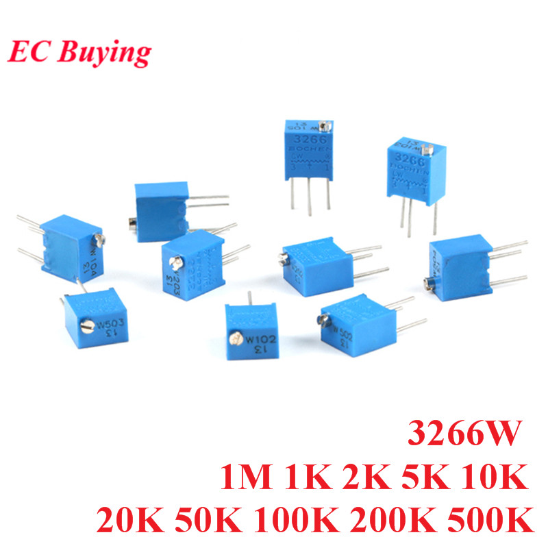 10 pçs 3266 w 3266 102 202 1 m multiturn ajustável trimpot aparador resistor potenciômetro 1 k 2 k 5 k 10 k 20 k 50 k 100 k 200 k 500 k k ohm