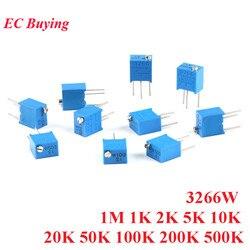 Recortadora ajustable multigiro, potenciómetro de resistencia 1K 2K 5K 10K 20K 50K 3266 K 3266 K Ohm, 102 W 202 100 1M, 10 Uds.