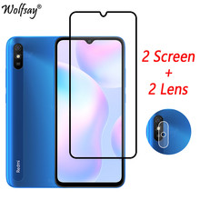 Full Cover Tempered Glass For Xiaomi Redmi 9A Screen Protector For Redmi 9A 9C 9 8 7A 10X 9S 8T Camera Glass For Redmi 9A Glass(China)