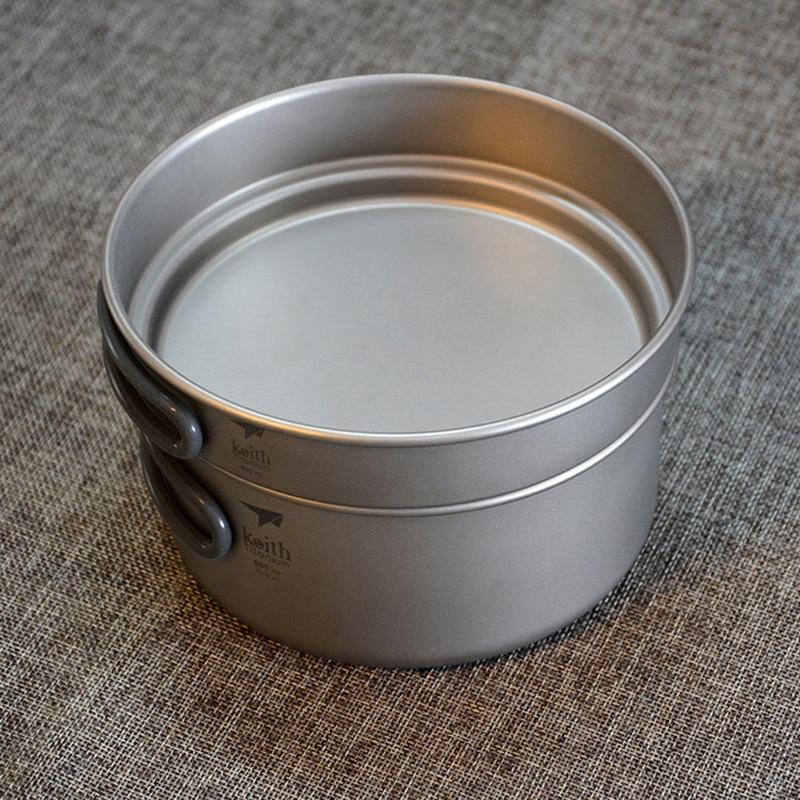 Keith Cooking Sets Pot And Pan Bacteriostatic Titanium Pots Set Pan Frying Pan For Camping Traving Hunting Hiking Cookware Set - 2