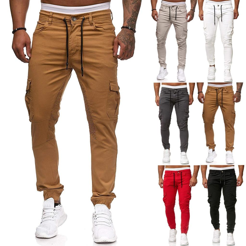 1PC Pants Fashion Men Loose Casual Pocket Sports Corset Trousers Joggers Pants Cargo Pants M1003