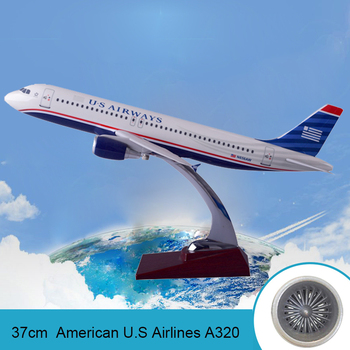 37cm Resin Aircraft Model A320 American Airlines U.S Aviation United States Airway A320 Airbus Souvenir Collection Creative Gift