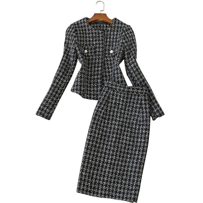 Winter High Quality Women's Sets Skirt Set 2019 New Casual Slim Check Short Ladies Jacket High Waist Skirt Female Two-piece Set