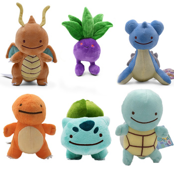 6 Styles Cute Cartoon Charmander Squirtle Bulbasaur Lapras Dragonite Stuffed Plush Soft Animal Doll Baby Toy For Kids 1pcs 12 15cm anime cartoon charmander squirtle bulbasaur clefairy ditto metamon plush toys soft stuffed dolls 5 styles