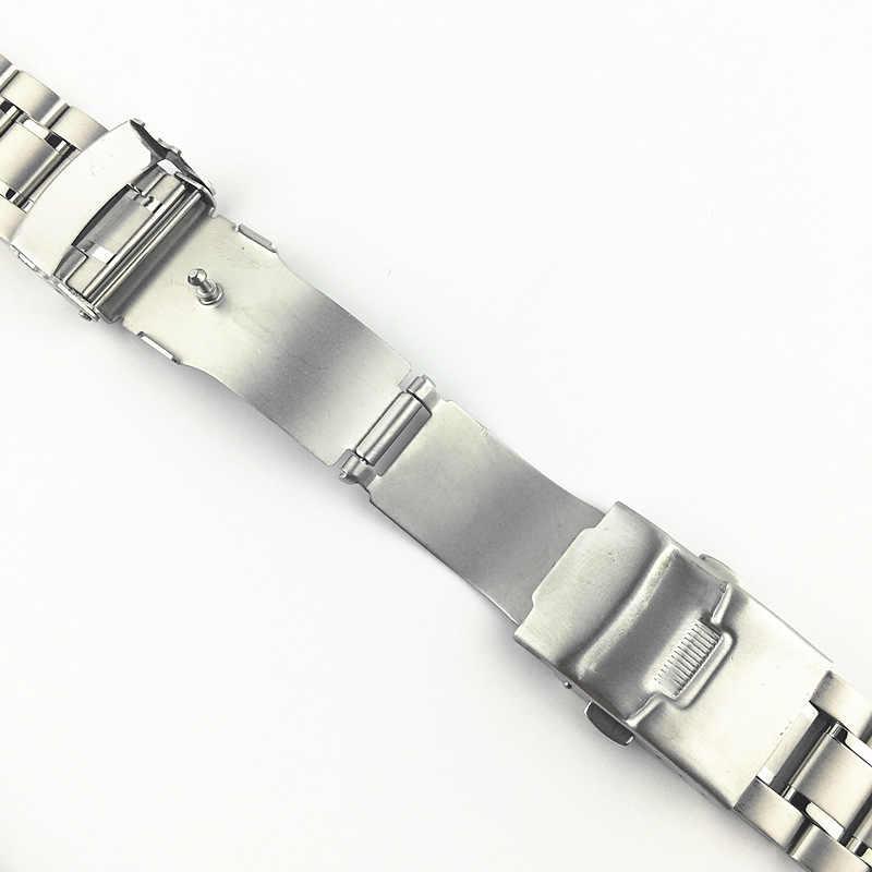 Saat kayışı kayışı 18mm 20mm 22mm 24mm bileklik paslanmaz çelik saat kayışı çift kilit toka kavisli son bileklik w pimleri