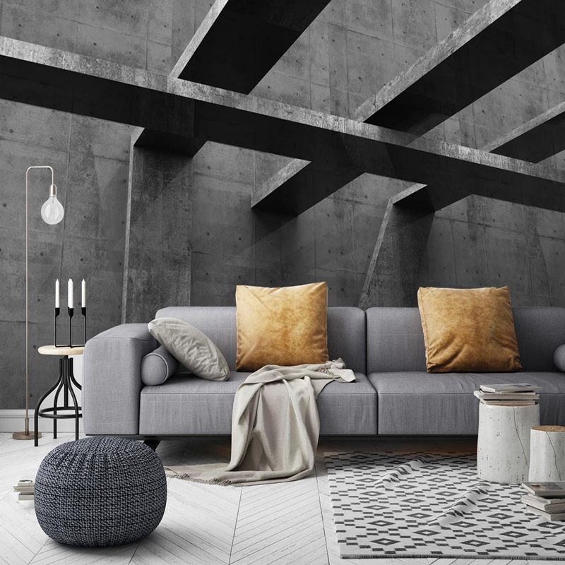 Custom Retro Cement Wall 3D Space Extension Photo Wallpaper Home Improvement Restaurant Living Room Office Decoration Wall Mural
