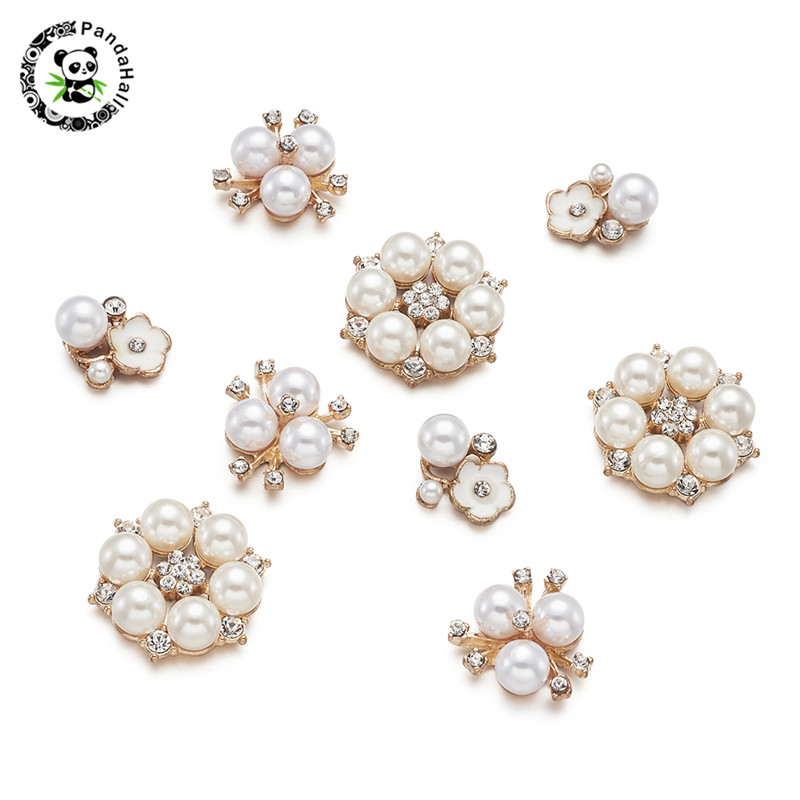 Pandahall 10-50pcs Alloy Cabochons With Rhinestone Pearl Embellishments For Jewelry Findings Making Mixed Sizes Golden