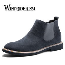 Fashion Chelsea Boot Men Suede Hombre Martin Boots Flat Heel Suede Leather Ankle Boots Vintage Sewing Thread Britain Botas men kanye west chelsea boots male silky gloss suede leather mashup boot italian leather luxury men vintage martin shoes