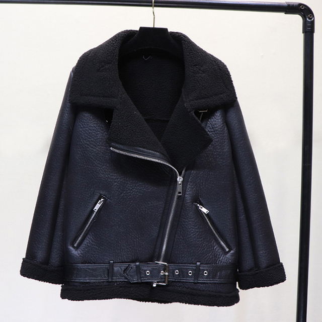 Ly Varey Lin Winter Faux Lamb Leather Jacket Women Faux Leather Lambs Wool Fur Collar Pu Moto Zipper Jacket Warm Thick Outerwear