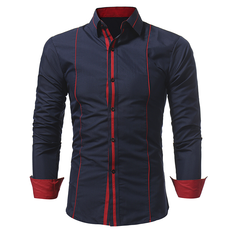 New Style Personalized Edging Brace Men's Casual Fit Long Sleeve Shirt