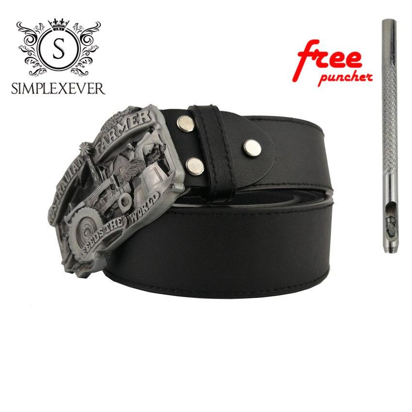Fashion Men's Australia Farmer Silver Belt Buckle With Leather Belt, Men's Belt Buckle Heads Belt For Woman Gift