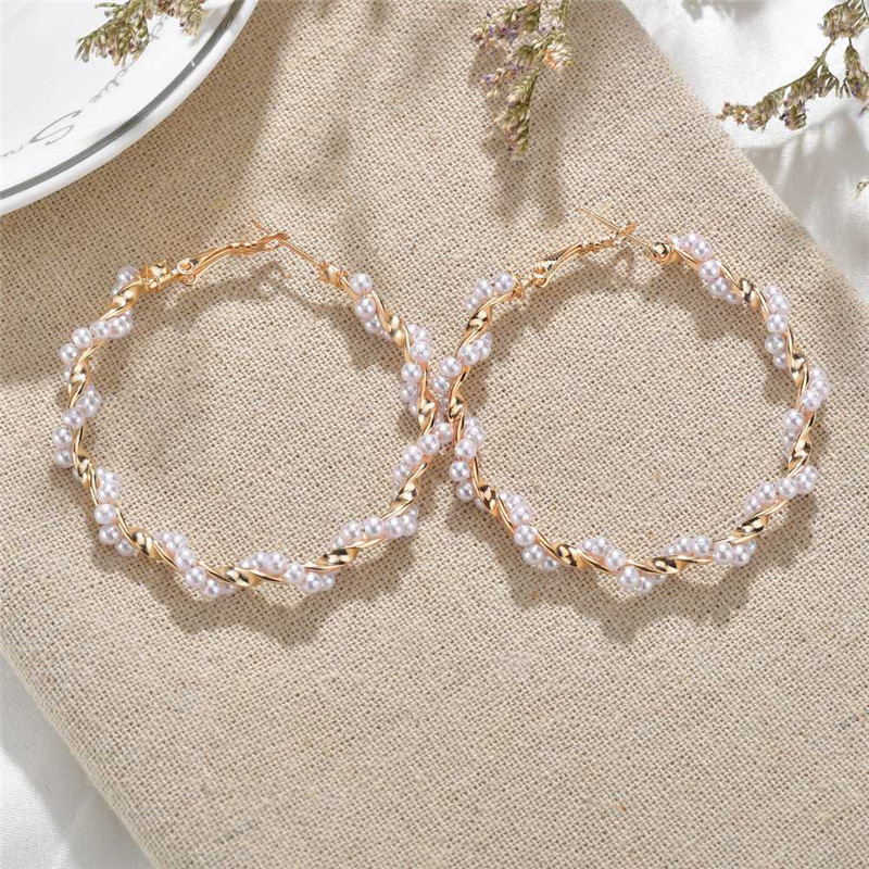 Modyle Fashion Statement Pearl Earrings Big Geometric Round Earrings For Women Hanging Gold Dangle Drop Earrings Female Jewelry(China)