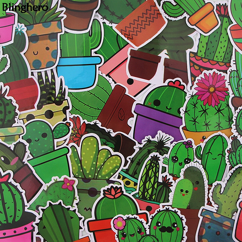Blinghero Cactus Stickers 36Pcs/set Kawaii Plant Stickers Skateboard Laptop Luggage Stickers Decals Refrigerator Stickers BH0088