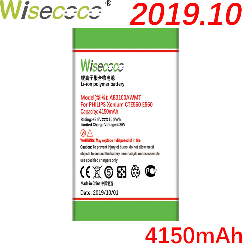 Wisecoco AB3100AWMC AB3100AWMT 4150mAh For <font><b>PHILIPS</b></font> Xenium <font><b>E560</b></font> CTE560 E181 E180 CTE181 CTE180 In Stock Latest Produce battery image