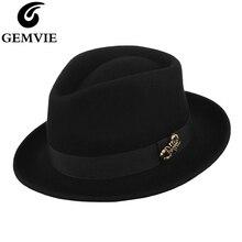 GEMVIE Short Brim 100% Wool Trilby Hat With Alloy Scorpion Fedora For Men Felt Hat For Women Autumn Winter Hat Gangster