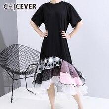 CHICEVER Patchwork Asymmetrical Dress Women O Neck Short Sleeve High Waist Loose Mesh Hit Color Irregular Hem Dresses For Female