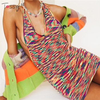 Tossy Sexy Backless Knitted Mini Party Dress Summer New Skinny Vacation Halter Green Clubwear V-Neck Bodycon Dresses 2021 1